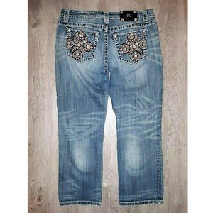 Miss Me Rhinestone Distressed Denim Jean Capris 31
